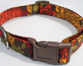 Autumn Orange Green and Brown Leaves Dog Collar Size Large