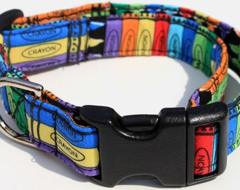 Crayola Crayons Dog Collar Size XS, S, M or L