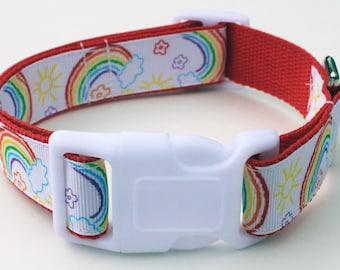 Rainbow Ribbon Dog Collar Size Large or Medium