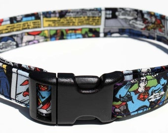 Superman Dog Collar Comic Size XS, S, M or L