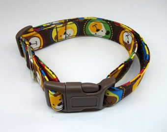 Colorful Cartoon Dog Collar Size XS, S, M or L