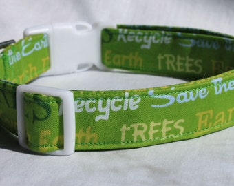 Earth Day Dog Collar Size XS, S, M or L