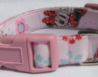 Minnie Mouse Dog Collar Size Extra Small, Small, Medium or Large