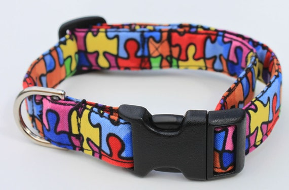 Puzzle Pieces Colorful Dog Collar Size Small