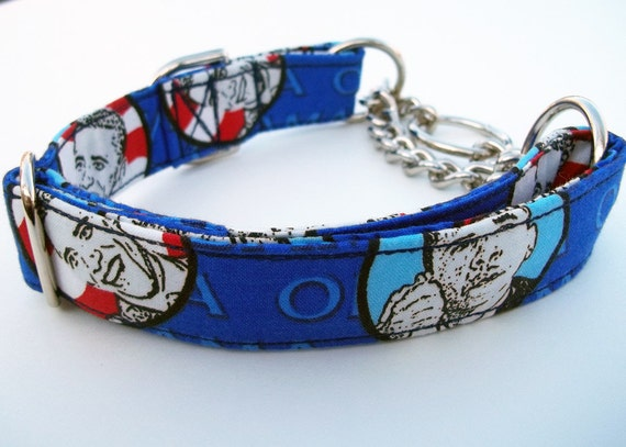 Barack Obama Democrat Martingale Chain Dog Collar Size XS, S, M or L