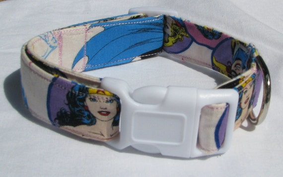 Wonder Woman, Supergirl, Batgirl Dog Collar Comic Size XS, S, M or L