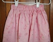 SALE 15% off-Pink Embroidered Linen Skirt-FREE Shipping
