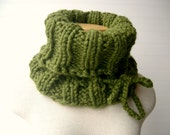 Knit Cowl Scarf with Tie, Moss Forest Green