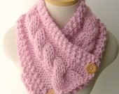 Pink Chunky Knitted Scraf, Cowl Neckwarmer, Light Pink