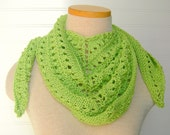 Lace Scarf, Mini Shawl, Bright Chartreuse Lime Green
