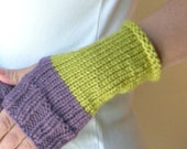 Purple Lime Hand Warmers/ Fingerless Gloves/ Color Block/ Hipster Inspired
