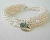 Natural Ecru Cotton Bracelet, Hand Knitted Beach inspired Jewelry