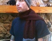 Men's knit scarf, pocket scarf,  handmade