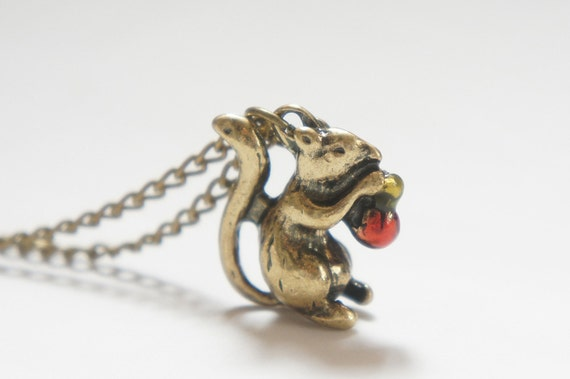 Tiny Squirrel with Acorn Necklace