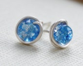 blue earrings, stud crackled glass bead wire wrapped