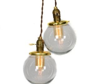 Simply Modern Vintage Style Double Globe Chandelier / Pendant Light