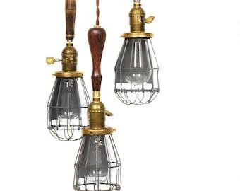 3 Light Caged Vintage Wood Handle Trouble Light Edison Chandelier