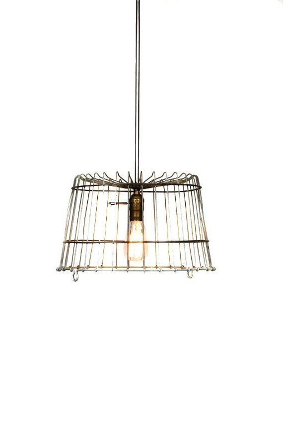 Vintage Industrial Egg Crate Farmhouse Chandelier / Pendant