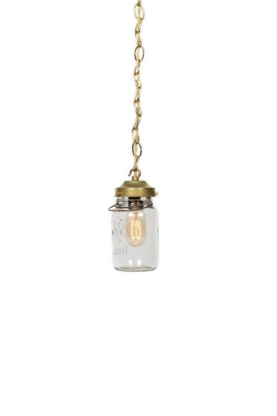 Vintage Simply Modern Ideal Canning Mason Jar Chain Pendant Light