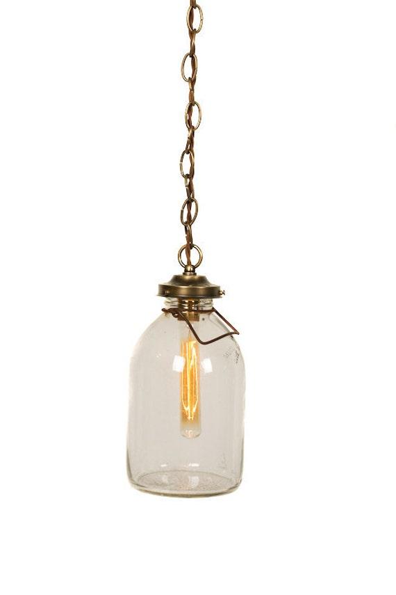 Vintage Glass Gallon Milk Jug Pendant Light