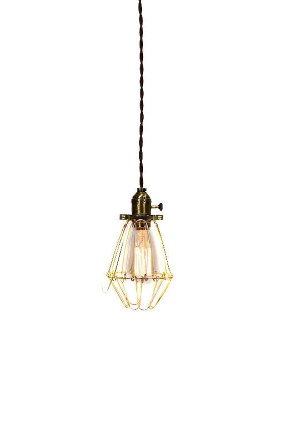 Vintage Industrial Cage Light - Economy Minimalist Bare Bulb Pendant Light