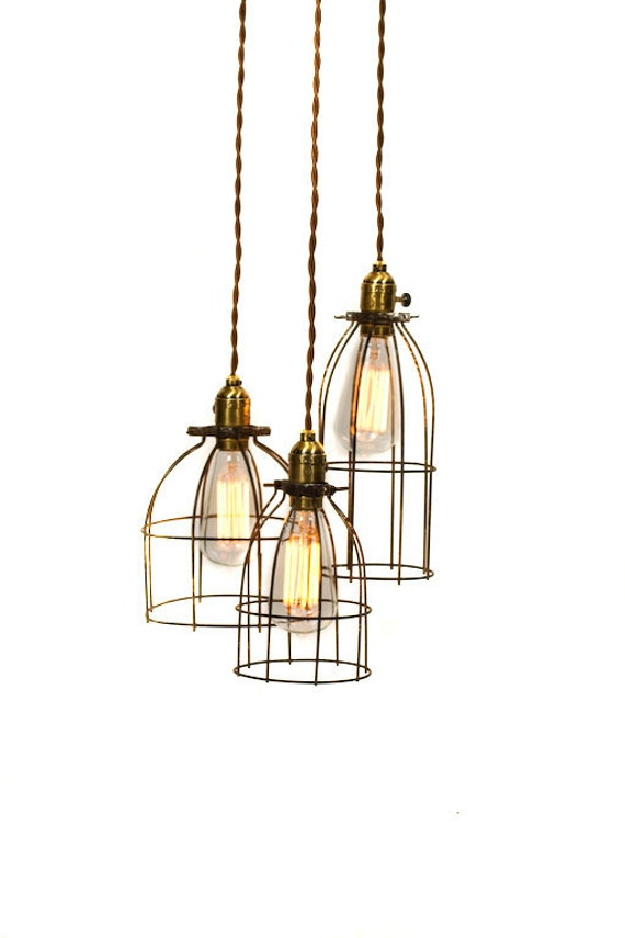 Industrial 3 light Caged Chandelier