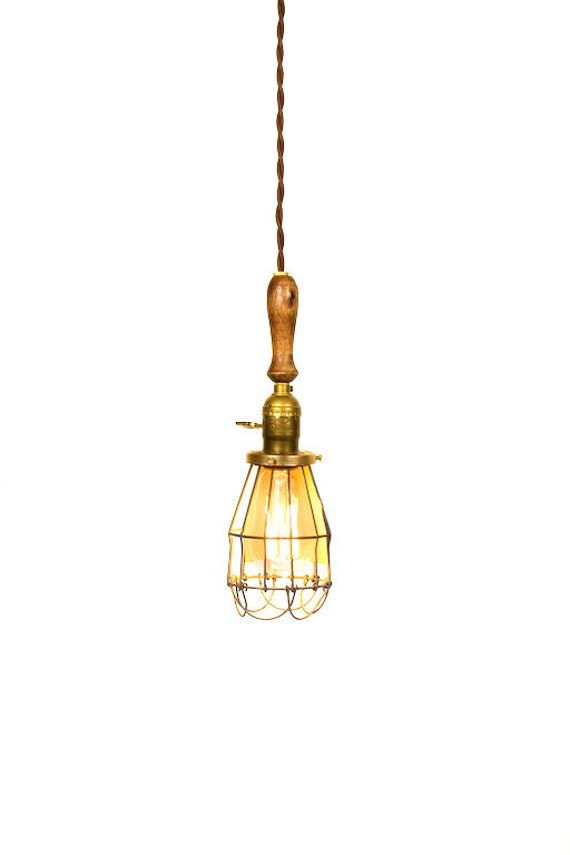 Vintage Farmhouse Wood Handle Caged Trouble Light Pendant ( Brown )