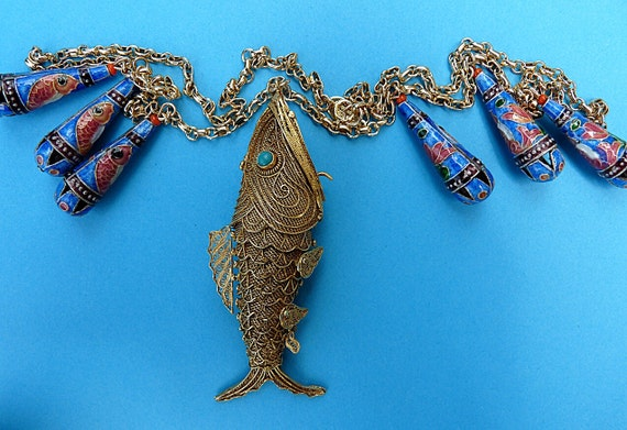 Chinese articulated gold and silver koi fish perfume necklace for Silver koi fish