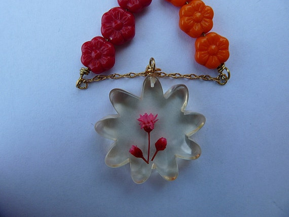 Dried Flower Necklace Pendant Hippie Pink Red and Orange Handmade Vintage