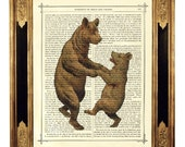 Dancing Bears Valentine's Day - Vintage Victorian Book Page Art Print Steampunk