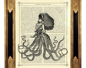Octopus Kraken Tentacle Lady with Umbrella - Vintage Victorian Book Page Art Print Steampunk