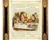 Alice in Wonderland Tea Party Mad Hatter color - Vintage Victorian Book Page Art Print Steampunk