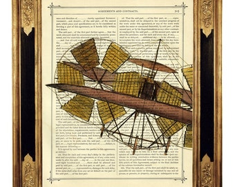 Airship Airplane Aviation - Vintage Victorian Book Page Art Print Steampunk