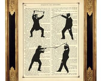 Gentlemen Baritsu Bartitsu Fighter - Vintage Victorian Book Page Art Print Steampunk