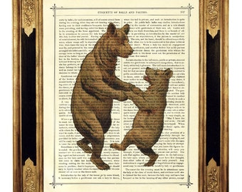 Dancing Bears Mother's Day Art Print Mother Bear Mother Child - Vintage Victorian Book Page Art Print Steampunk