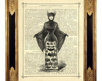 Vampire Lady with Bat Costume - Vintage Victorian Book Page Art Print Steampunk