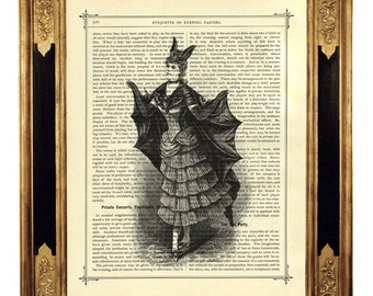 Vampire Lady with Bat Dress Costume - Vintage Victorian Book Page Art Print Steampunk