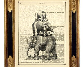 Surreal Elephants pyramid - Vintage Victorian Book Page Art Print Steampunk Surrealism