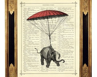 Elephant hanging by a pink Parachute - Vintage Victorian Book Page Art Print Steampunk