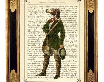 Dog Gentleman in fancy green Frock Coat Portrait  - Vintage Victorian Book Page Art Print Steampunk