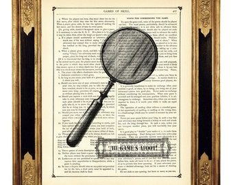 Sherlock Holmes The Game's Afoot Magnifying Glass - Vintage Victorian Book Page Art Print Steampunk