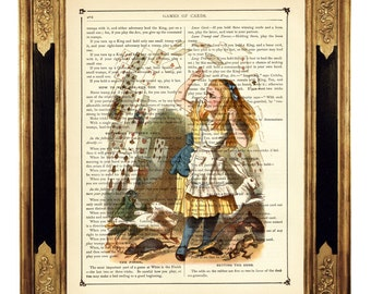 Alice in Wonderland Revenge of the Cards color - Vintage Victorian Book Page Art Print Steampunk