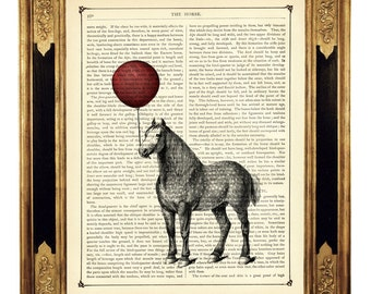 Horse holding a red Balloon - Vintage Victorian Book Page Art Print Steampunk