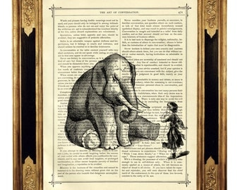 Elephant and little Girl - Vintage Victorian Book Page Art Print Steampunk