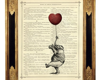 Elephant holding a red Heart Balloon Valentine's Day - Vintage Victorian Book Page Art Print Steampunk