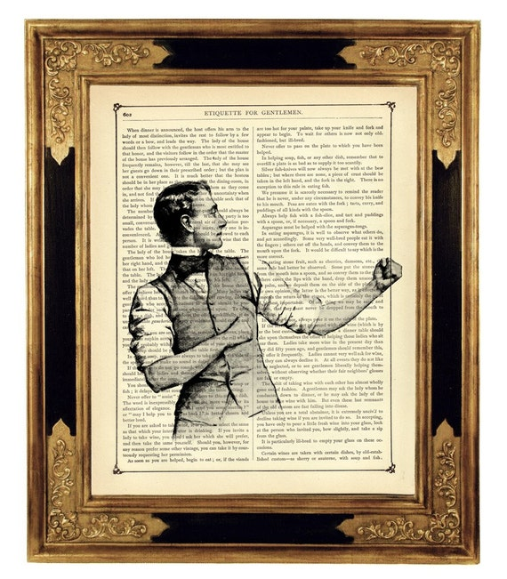 Sherlock Holmes Bartitsu Baritsu Gentleman Boxer - Vintage Victorian Book Page Art Print Steampunk