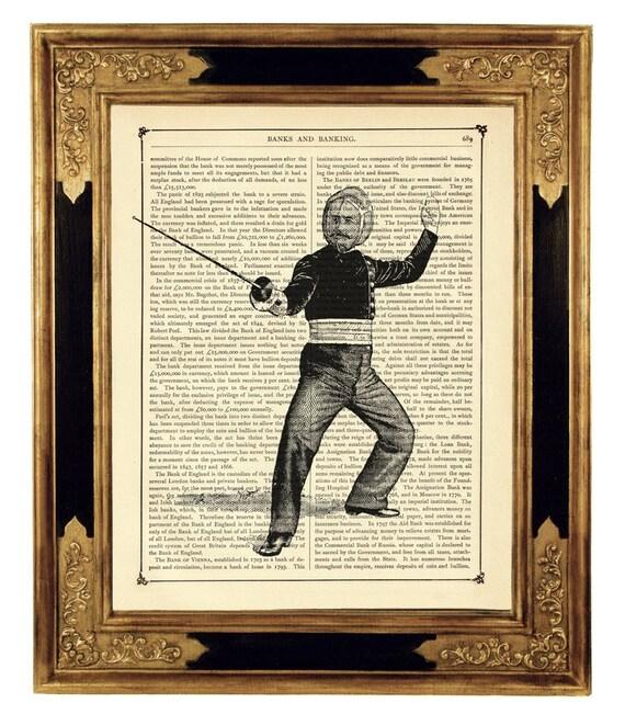 Gentleman Fencer Sherlock Holmes - Vintage Victorian Book Page Art Print Steampunk