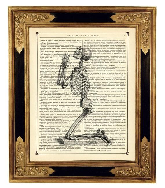 Praying Skeleton - Vintage Victorian Book Page Art Print Steampunk Gothic