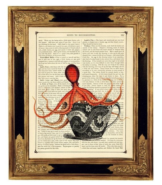 Tea Cup Octopus Kraken Teacup - Vintage Victorian Book Page Art Print Steampunk