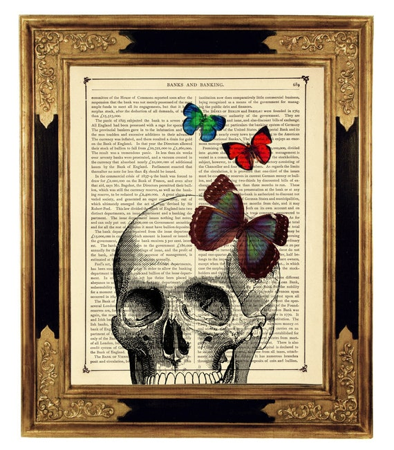 Butterflies on Human Skull Head - Vintage Victorian Book Page Art Print Steampunk